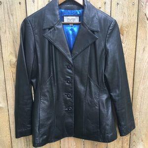 Wilsons Leather Blazer Black Blue Lining sz L
